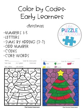 Early Learners Color by Code- Christmas