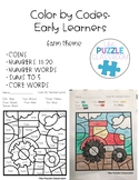 Early Learners Color by Code- Farm Theme