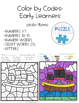 Early Learners Color by Code- Pirate Edition
