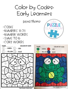 Early Learners Color by Code- Pond Theme