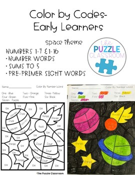 Early Learners Color by Code- Space Theme