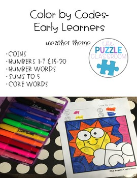 Early Learners Color by Code- Weather Theme