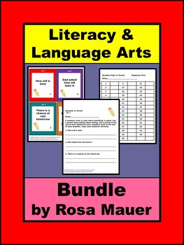 Early Learners Language Arts Task Card Literacy Bundle