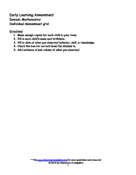 Early Learning Assessment Mathematics Individual Rubric grid