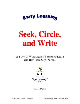 Early Learning: Seek, Circle and Write