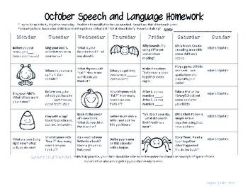 Preschool/Early Learning Speech-Language Homework