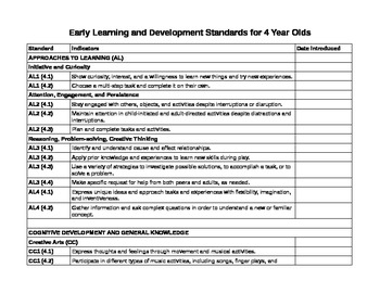 Early Learning and Development Standards for 4-Year Olds (