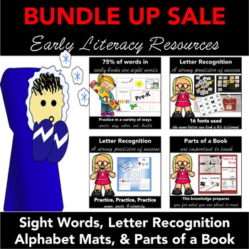 Early Literacy BUNDLE: Letter Recognition, Sight Words, and Parts of a Book