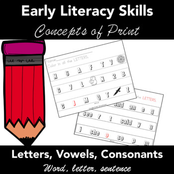 Concepts of  Print: Task Cards. Early Literacy. PreK, Kinder, 1st Grade