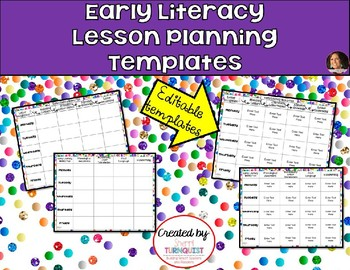 Early Literacy Lesson Plan Templates - EDITABLE