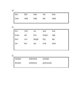 Early Literacy Phonics Survey - Student Copy