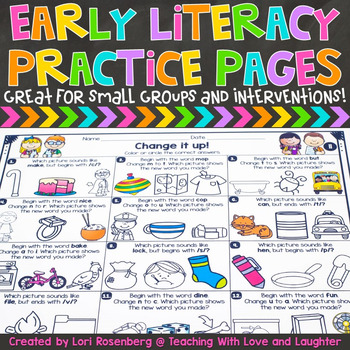 Early Literacy Practice Pages Distance Learning Packet