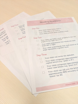 Early Literacy - Reading Readiness Checklist