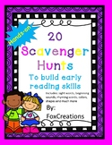 Early Literacy Scavenger Hunts No Prep~ Engaging !