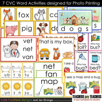 Early Literacy Tools: CVC Words - 7 Activities designed fo
