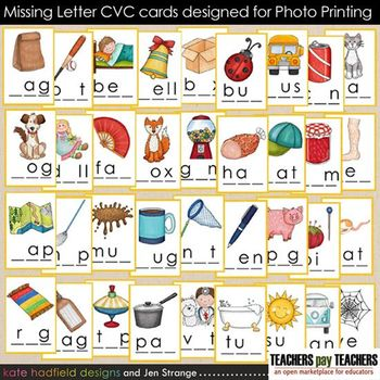 Early Literacy Tools: CVC Words - Missing Letters (Photo P