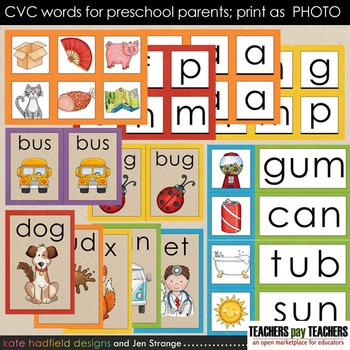 Early Literacy Tools: CVC Words for Preschool Parents. Print as PHOTO
