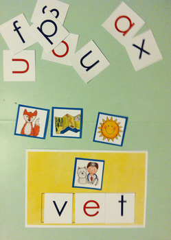 Early Literacy Tools: Elkonin boxes and Medial Vowel Set (CVC words) BASIC SET
