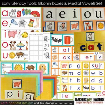 Early Literacy Tools: Elkonin boxes and Medial Vowel Set (CVC words) BASIC SET