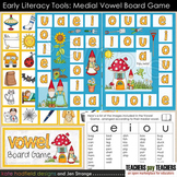 Early Literacy Tools: Medial Vowel Board Game (File Folder Game)