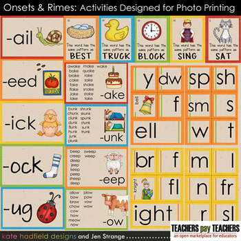 Early Literacy Tools RIMES -onset/rime sort, word wall &lists for photo printing