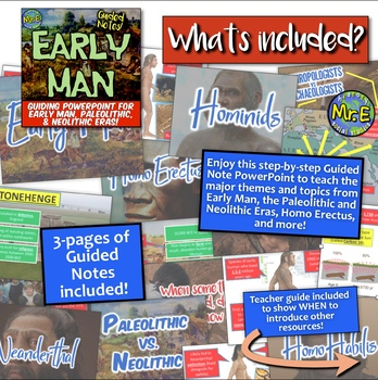 Early Man Guided Notes Unit PowerPoint! Hominids, Paleolithic, Neolithic, & More