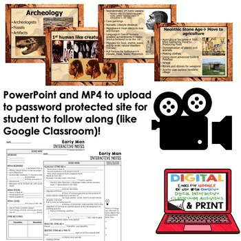 Early Man Notes, Interactive Guided Notes & PowerPoints, World History, Google