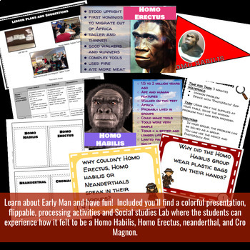 Early Man (Hominid) Interactive Notebook Activity and Social Studies Lab