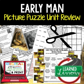 Early Man Picture Puzzle Unit Review, Study Guide, Test Prep (World History)