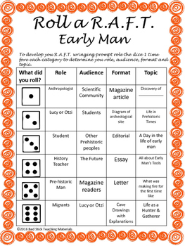 Early Man Roll a R.A.F.T writing prompt generator