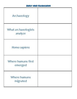 Early Man (Stone Ages) Flashcards