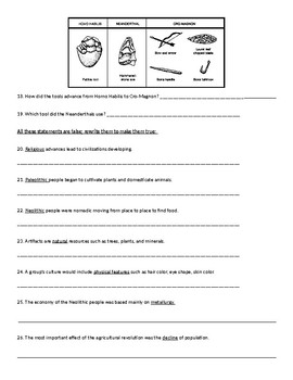 Early Man Study Guide