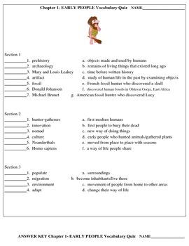 Early Man Vocabulary Quiz