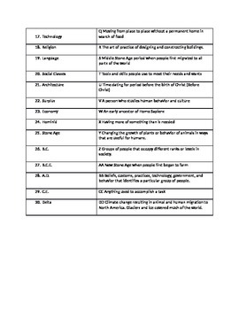 Early Man Vocabulary worksheet