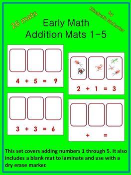 Addition Mats 1-5 Math Center