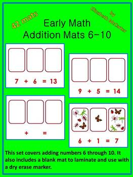 Addition Mats 6-10 Math Center