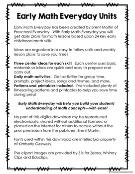 Early Math Everyday Unit 1 - Counting and Sets