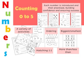 Early Maths Worksheets (Numbers 0-5) for Reception (UK)/K/Pre-K