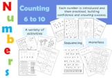 Early Maths Worksheets (Numbers 6 -10) for Reception (UK)/K/Pre-K