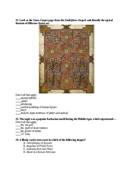 Early Medieval/Romanesque/Gothic Unit Test (AP Art History)