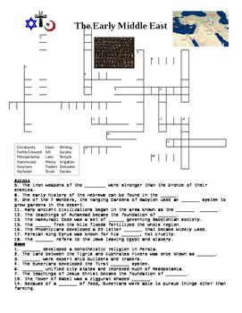 Early Middle Eastern Cultures Crossword or Web Quest