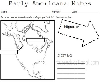 Early Native Americans Interactive Notes and Assessment
