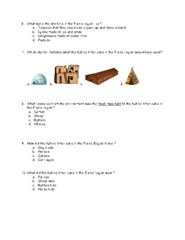 Early Native Americans Unit Test- Aligned to 3rd Grade GSE
