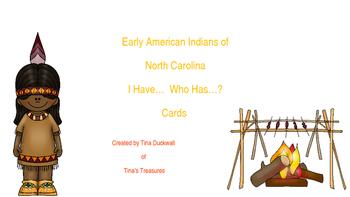 Early North Carolina Natives I Have...Who Has... Cards