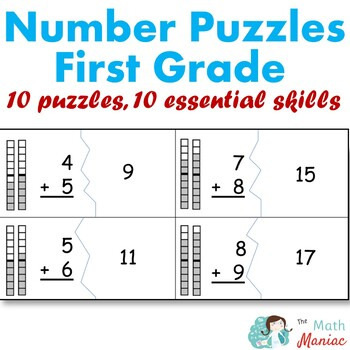 Number Puzzles Bundle Grade 1 Addition Subtraction Telling Time Numbers to 120