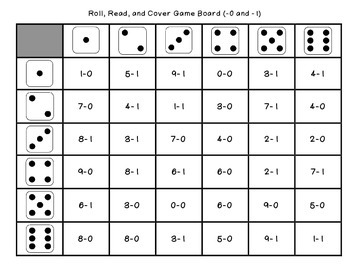 Early Numeracy Games (Roll, Read, and Cover)