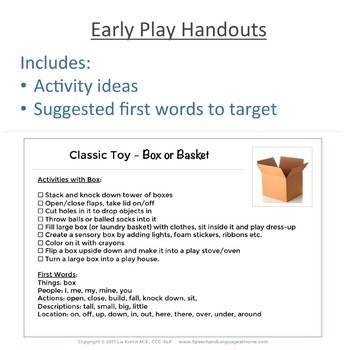 Early Intervention Handouts for Play Skills (Speech Therapy Printables)