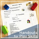Play Skills Early Intervention Handouts for Speech Therapy