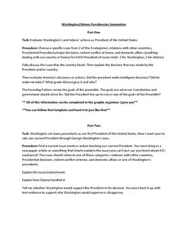 Early Presidencies Summative Project: Washington/Adams