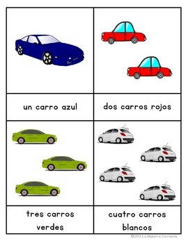 Early Reader Matching Cards: Cars (Spanish and English)